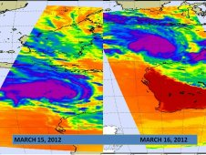 On March 15 at 1741 UTC and March 16 at 0553 UTC AIRS captured infrared images of Tropical Cyclone Lau.
