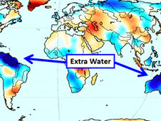 Gravity Recovery and Climate Experiment (Grace) map shows how much water was lost or gained over the continents.