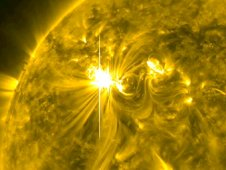 This video still from March 6, 2012 shows the X5.4 flare captured by the Solar Dynamics Observatory, or SDO, in the 171 Angstrom wavelength. (NASA/SDO/AIA)