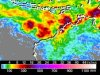 TRMM satellite data showing rainfall totals in Cyclone Lua from March 17-19.