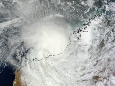 MODIS passed over Tropical Cyclone Lau on March 17 and captured this image before its center made landfall
