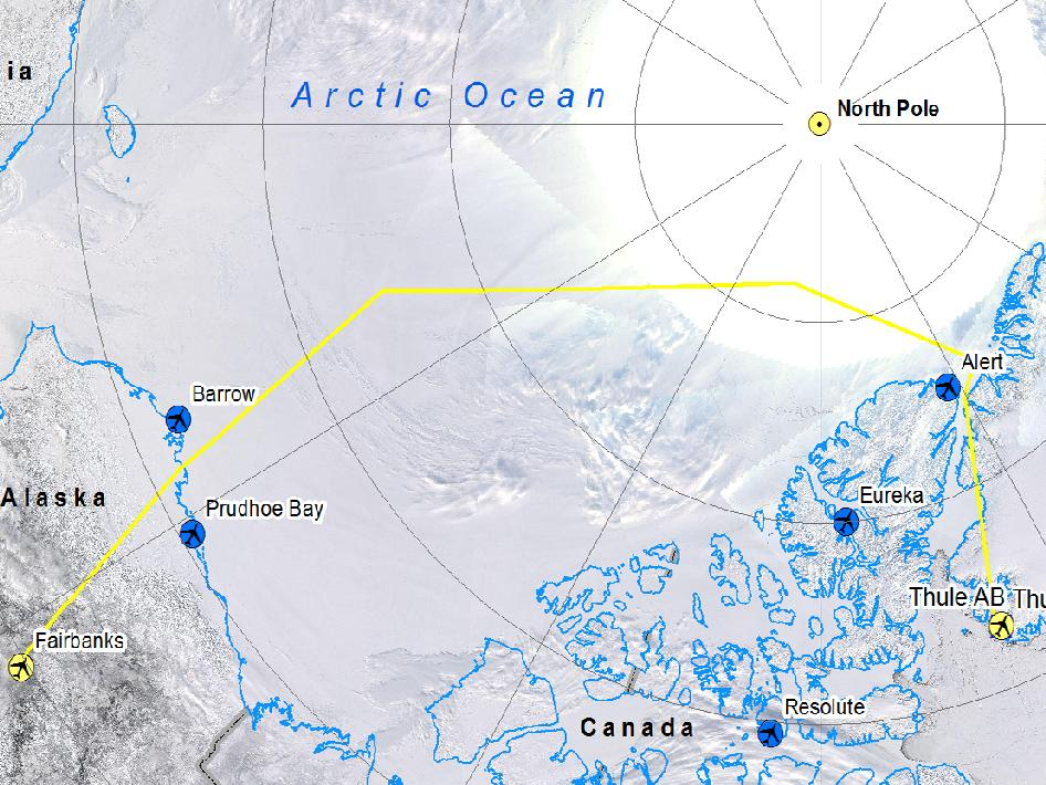 IceBridge flight map from Thule, Greenland to Fairbanks.