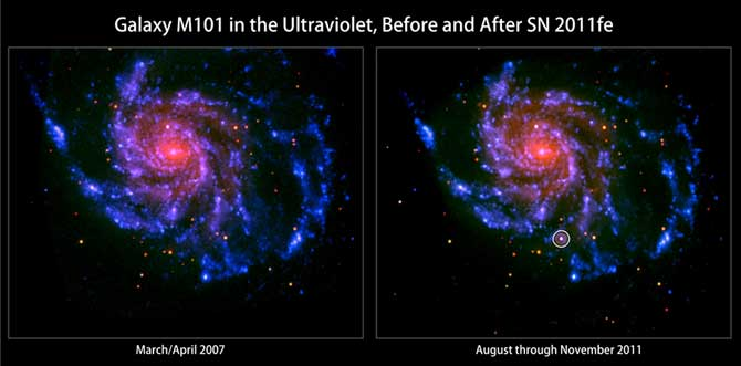 These images from Swift's Ultraviolet Optical Telescope  show the nearby spiral galaxy M101 before and after the appearance of SN 2011fe, circled, right, which was discovered on Aug. 24, 2011.