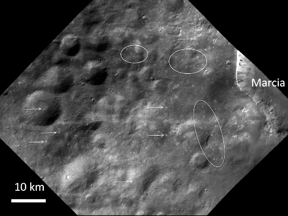 Numerous small, bright spots appear on Vesta, as seen in this image from NASA's Dawn spacecraft.