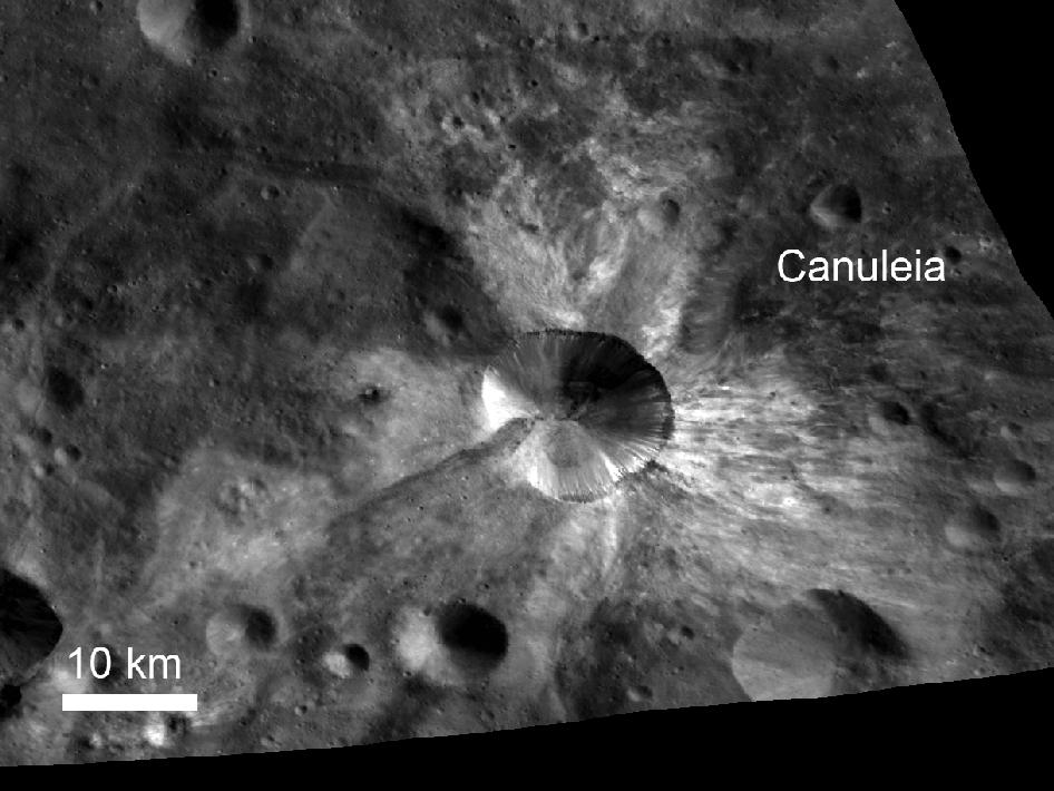 In this image from NASA's Dawn spacecraft, bright material extends out from the crater Canuleia on Vesta.