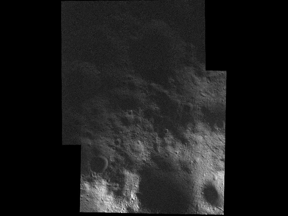 This mosaic of the surface of Vesta was made from images obtained by NASA's Dawn spacecraft on Feb. 5, 2012, while the area was entirely in the sun's shadow.