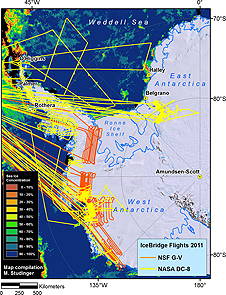 Completed science flights map for IceBridge Antarctic 2011.
