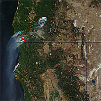 An image taken by MODIS of forest fires in Oregon