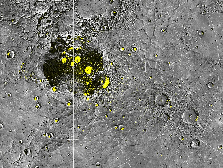 Image from Orbit of Mercury: Radar-bright Deposits near Mercury's North Pole