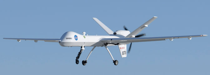 NASA's Ikhana, a modified General Atomics Aeronautical Systems MQ-9 Predator B, glides in for landing at Edwards Air Force Base at the conclusion of the first checkout test flight of the new ADS-B Automatic Dependent Surveillance-Broadcast aircraft tracking technology on an unmanned aircraft system.