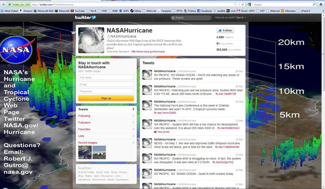 Screenshot of the NASA Twitter page