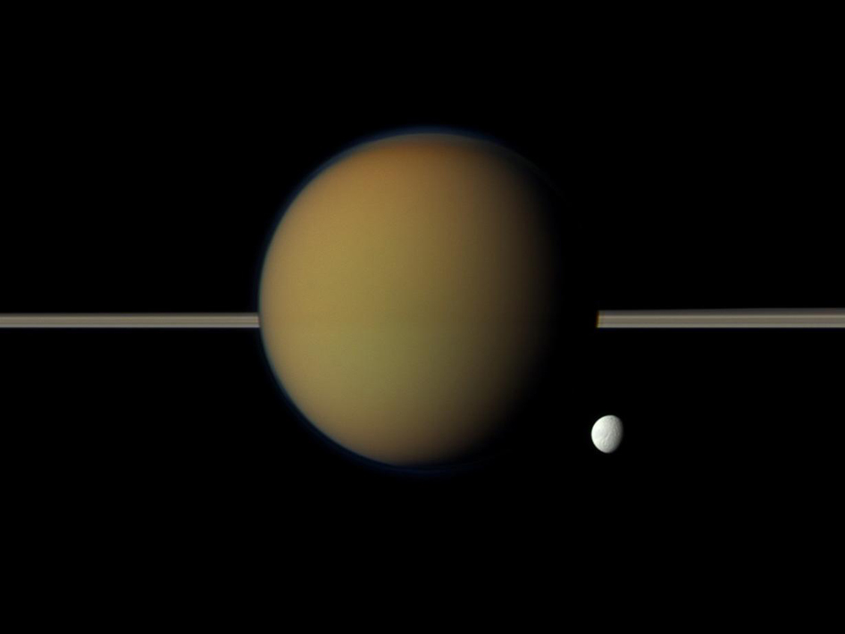 Saturn's moons Tethys and Titan