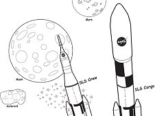 Placeholder image, Launching Beyond Earth Orbit Coloring Sheet
