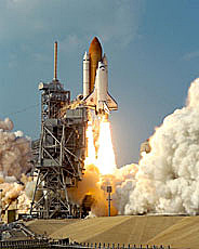 Photograph of a shuttle during launch