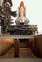Photograph of the flame trench located under the launch pad
