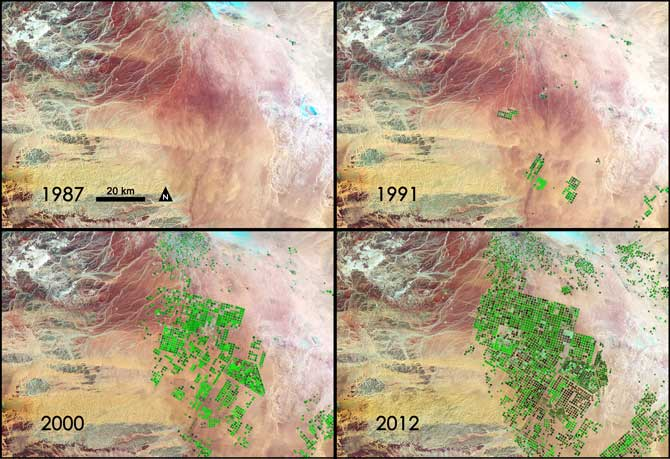 This time series of data shows images acquired by three different Landsat satellites operated by NASA and the U.S.Geological Survey.