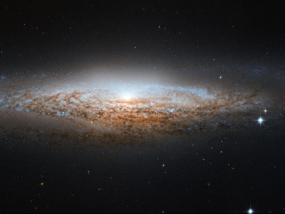 Hubble Spies a Spiral Galaxy Edge-on