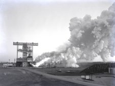 The test laboratory of the Marshall Space Flight Center (MSFC) tested the F1 engine.
