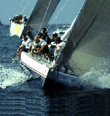 A crew sailing the yacht called Stars and Stripes