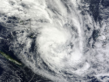 The MODIS instrument on NASA's Terra satellite captured this visible image of Tropical Cyclone Daphne over the North Fiji Basin, South Pacific Ocean, on April 1, 2012 at 2300 UTC (7 p.m. EDT).