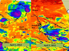 These two images were captured from the AIRS instrument on NASA's Aqua satellite on April 1 and April 2, after Typhoon Pakhar made landfall in southeastern Vietnam.