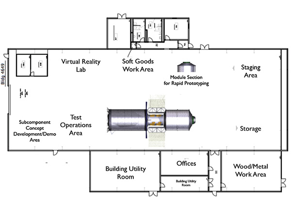 Operational layout of Building 4649 at NASA's Marshall Space Flight Center.