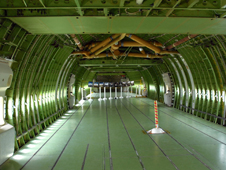 The emptied-out interior of the Shuttle Carrier Aircraft