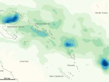 TRMM showed heavy rainfall totals between Papua New Guinea and Fiji from March 26 to April 2, 2012.