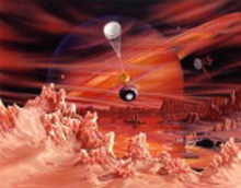 Artist's concept of Huygens Probe landing on Titan