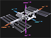 Drawing of space station with directional labels