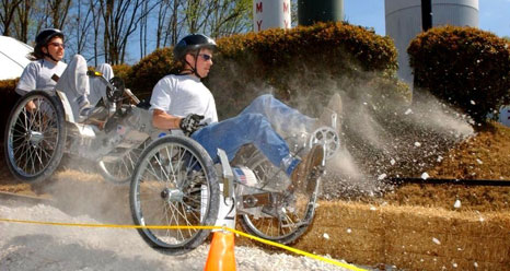 A student teams races in the NASA Great Moonbuggy Race.