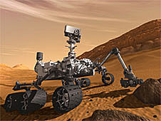 Artist's concept of the Mars Science Laboratory rover on Mars