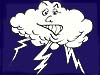 Cartoon image of a cloud with lightning bolts coming from it