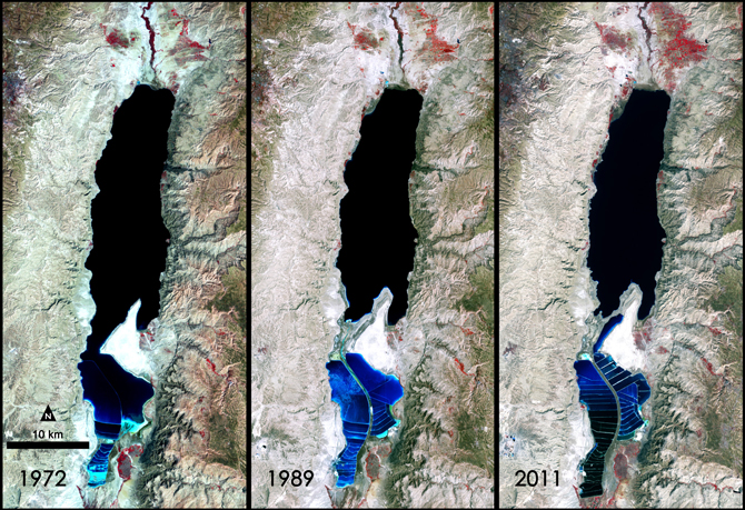 A false-color image captured by Landsat satellites. Visible is the Lisan Peninsula (bottom center) that forms a land bridge through the Dead Sea.