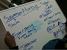 Notes on moonbuggy written with blue marker on a white board