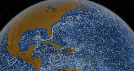 Screen capture from video on ocean currents showing the Gulf Stream in the Atlantic.