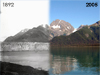 side-by-side comparison of glacier in 1892 (left) and 2005