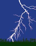 Drawing of lightning in a night sky