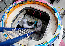 Looking inside the SpaceX Dragon capsule.