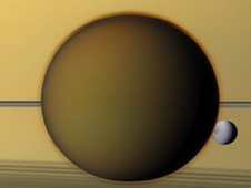 Titan with Dione and Saturn in background