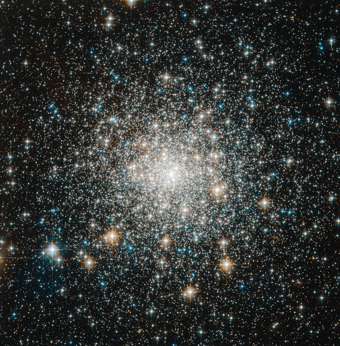 Hubble image of Messier 70 cluster is tightly packed toward the center