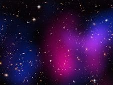 Composite image of newly discovered galaxy cluster DLSCL J0916.2 2951, nicknamed the Musket Ball Cluster