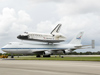 Shuttle Carrier Aircraft with shuttle Discovery atop