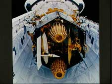 Image of TDRS-4 on Space Shuttle Discovery