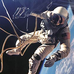 Astronaut Edward H. White, II  floats in the zero gravity of space.