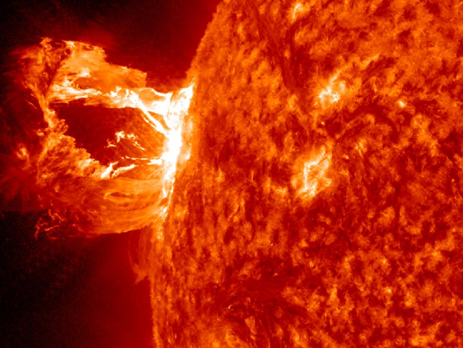 Image of solar prominence eruption associated with M1.7 class solar flare.