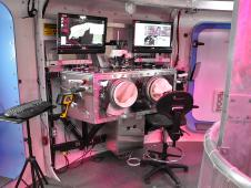 A view inside the Deep Space Habitat showing the science glovebox, used for examining samples.