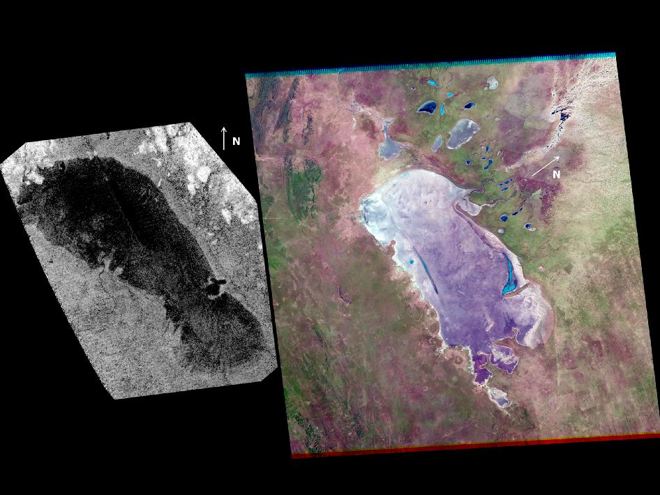 Saturn's moon Titan (left) and a salt pan on Earth known as the Etosha Pan (right)
