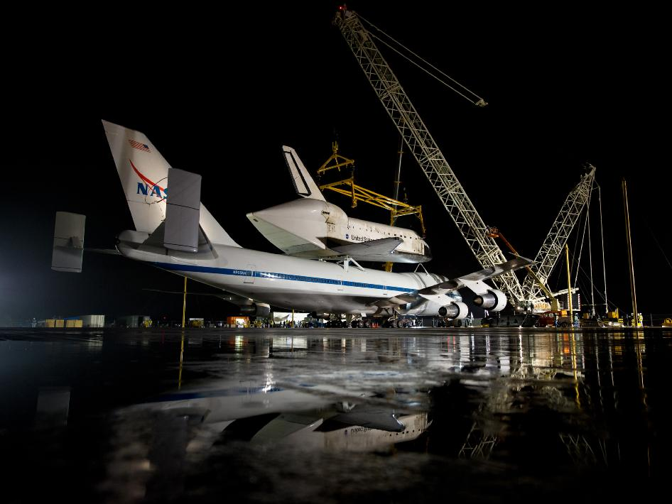 NASA's Shuttle Carrier Aircraft with the space shuttle Discovery mated on top