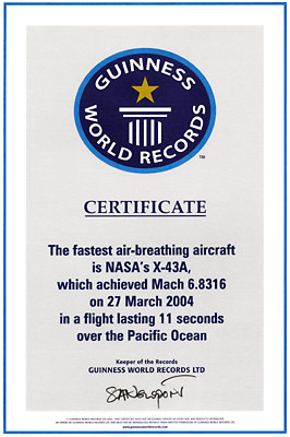 Nasa guinness world records certifies nasas aircraft speed record guinness world records citation ccuart Gallery